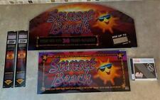 "Bally ""Sunset Beach"" Slot Machine Glass 2pc w/ CD & Decals FAST FREE SHIP! Y-11"