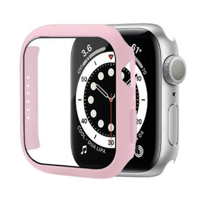 Matte PC Bumper Case fr Apple Watch Series 7 45mm 41mm Tempered Glass Film Cover