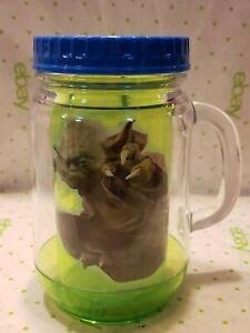 Star Wars Yoda Jedi Master Green 18 Oz Plastic Travel Mason Jar Cup Mug Blue lid
