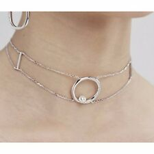 Freshwater 6mm Shell Pearl Sterling Silver 925 Choker Chain Statement Necklace