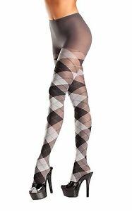 Argyle Tights Pantyhose Diamond School Girl Uniform Costume Hosiery