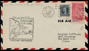 FIRST FLIGHT COVER - TRANS ATLANTIC - AAMC #3921e -1939- SHEDIAC, NB to BOTWOOD
