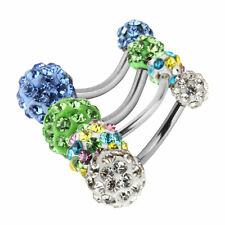 1PC Navel Belly Button Bar Ring Barbell Rhinestone Crystal Ball Body Piercing GN