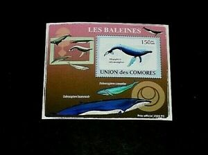 TOPICAL, MARINE LIFE, COMORES, 2009, WHALES, SHEET, LOT #40, MNH, LQQK