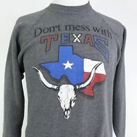 VTG DON'T MESS WITH TEXAS LOGO GRAY USA MADE CREW NECK PULL OVER SWEATSHIRT XL