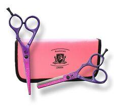 Hairdressing Thinning Scissors Set Barber Salon Hair Cutting Shears Purple/Pink