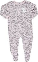 CARTER'S GIRLS PINK/GREY LEOPARD PRINT KITTY FOOTED FLEECE SLEEPER VAR.SIZES NWT