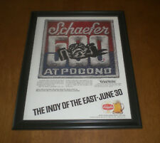 SCHAEFER BEER AT 4th ANNUAL POCONO 500 FRAMED AD PRINT