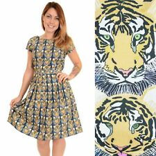 Run and Fly Tiger Print Dress Quirky Animal 8 10 12 14 16 18 20 Cotton