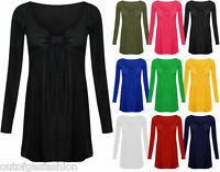 New Ladies Womens Tunic Dress Long Sleeve Swing Bow Knot Top Tee Size 16-22