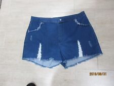 Hue Shorts Shredded High Waist Short Shorts Denim  Sz XL Nwt  Cute & Sexy