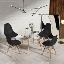 Conjunto de 4 sillas de comedor retro negro y mesa de comedor de vidrio moderno