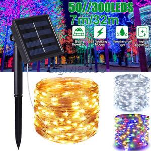 300 LED Solar Copper Wire Lights Waterproof Fairy String Garden Xmas  Garlands