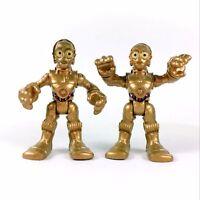 "2X Star Wars Playskool Galactic Hero C3PO Exclusive W/ Foot Droid 2.5"" toy gift"