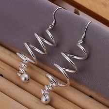 Hot 925silver Plt Drop Dangle Hanging Hook Earrings Hoop Ladies Womens 16 Styles Spiral Tornado With Bead