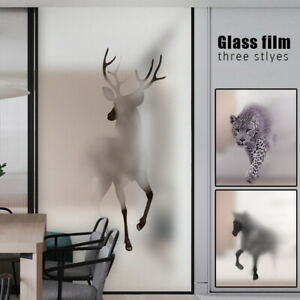 3D Animal Window Film Stained Glass Static Cling Sticker Frosted Home Privacy