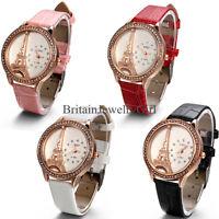 Fashion Women Rhinestone Analog Eiffel Tower Quartz Leather Band Wrist Watch