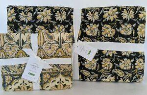 NWT Pottery Barn Zoya Kalamkari FQ quilt & 1 euro sham, full queen f/q yellow