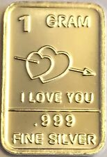"Best Junk drawer: 1 Gram .999 Pure Solid Silver Bullion Art-Bar, "" I Love You """