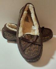 NEW $129 Women's UGGS Australia Metallic Brown Slip On Moccasin Slippers Size 7