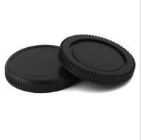 Black Camera Body cap + Rear Lens Cover replacement for Olympus Micro 4/3 Camera