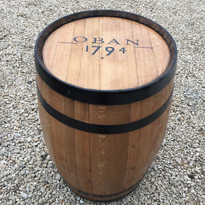 """Solid Wooden Oak Recycled Whisky Barrel """"Oban"""" Branded Patio Table"""