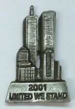 USA Twin Towers 911 Commemorative Lapel Pin, Ant Silver Plate, 4th of July, NEW