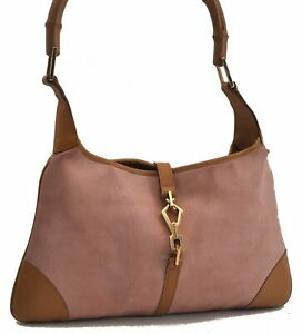 Authentic GUCCI Jackie Bamboo Shoulder Hand Bag Suede Leather Pink Brown C0263