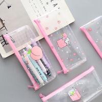 Portable Pencil Case Cute Pen Box Pouch Cosmetic Makeup Storage Bag Purse Pink