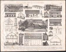 1870 Gravure originale agriculture ferme bâtiments agricoles architecture rurale