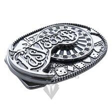 Las Vegas Casino Belt Buckle with Spinning Roulette Wheel and Winning Hand