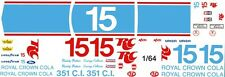#15 Buddy Baker RC Cola Torino 1/64th HO Scale Slot Car Waterslide Decals