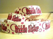 """**CLEARANCE* 1m x 7/8"""" Middle Sister Circle Ribbon on White Grosgrain Hairclips"""