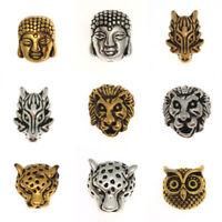 Charm Animal Beads 5PCs Buddha Fit Alloy Owl Dragon Lion Gold Head Bracelet Head