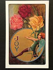 repro vintage postcard JOY FLOWER FAIRY GOLD FOIL wings Pleiades Press p175 NOS