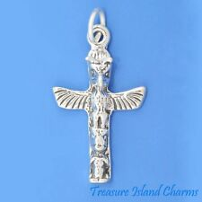 Native American Totem Pole 3D .925 Solid Sterling Silver Charm Pendant USA MADE