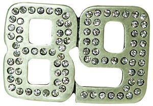 89 Boucle de ceinture pour femme, boucle à clou, argentée et mate, strass blancs