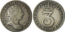 GRANDE  BRETAGNE  ,  GEORGES  III  ,  3  PENCE  ARGENT 1762  ,  SUPERBE