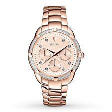 Bulova Women's Quartz Diamond Accents Rose Gold-Tone 36mm Watch 98R178