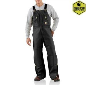 Carhartt R38 Mens Quilt Lined Zip To Waist Bib Overalls Black 32x34