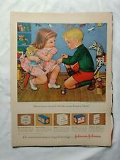VTG 1950 Original Magazine Ad Band-Aid Products Pink Dress Girl Knee Boy Boo Boo