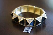 NEW Designer Lisa Freede Lola Pyramid Crystal Pave Gold Black Stretch Bracelet