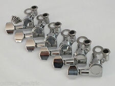 CHROME MACHINE HEADS 6 in LINE TUNERS for Strat or Tele Style Guitars