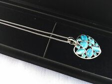 Cat's Eye Stone Aqua Necklace Pendant Sterling Silver Chain with Display Case