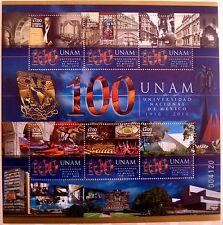 Mexico 2010 National University 100th Anniv Education Architecture UNAM Love MNH
