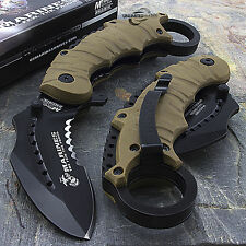 "8.5"" MTECH USA USMC MARINES TAN KARAMBIT SPRING ASSISTED TACTICAL FOLDING KNIFE"