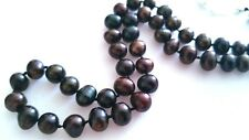 "Lovely Black Natural FW Pearl Necklace, 21"" long."