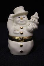 Mint Lenox Treasures First Issue Snowman'S Surprise Trinket Box +Snowflake Charm