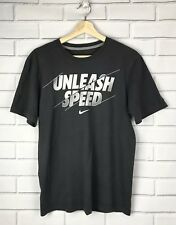 Nike Mens Size Small Regular Fit Gray White Graphic T-shirt Logo Unleash Speed