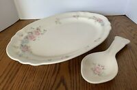 Pfaltzgraff Tea Rose Oval Serving Platters and Spoon Rest Stoneware